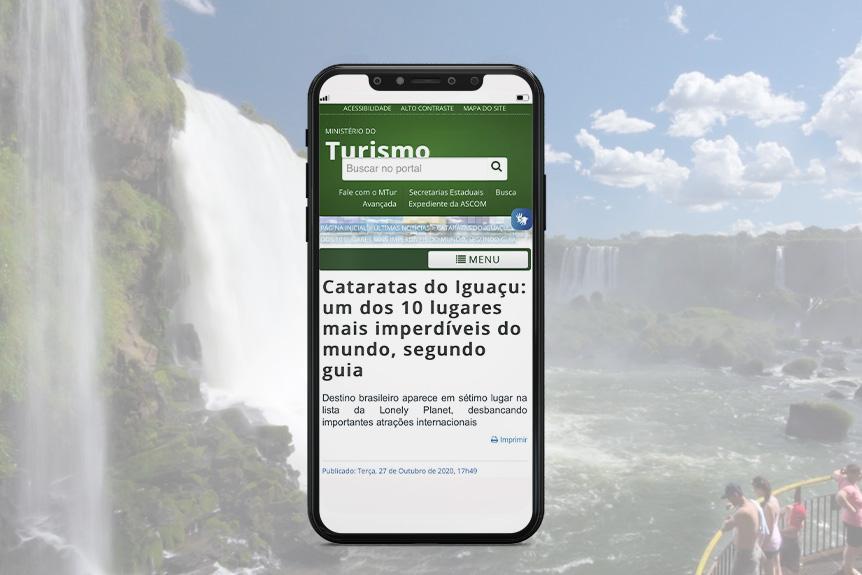 Destaque no portal de notícias do Ministério do Turismo
